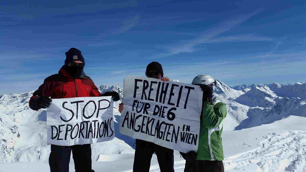 """Soli-Foto von Schweizer Aktivist_innen """"Freiheit für die 6 Angeklagten in Wien"""""""